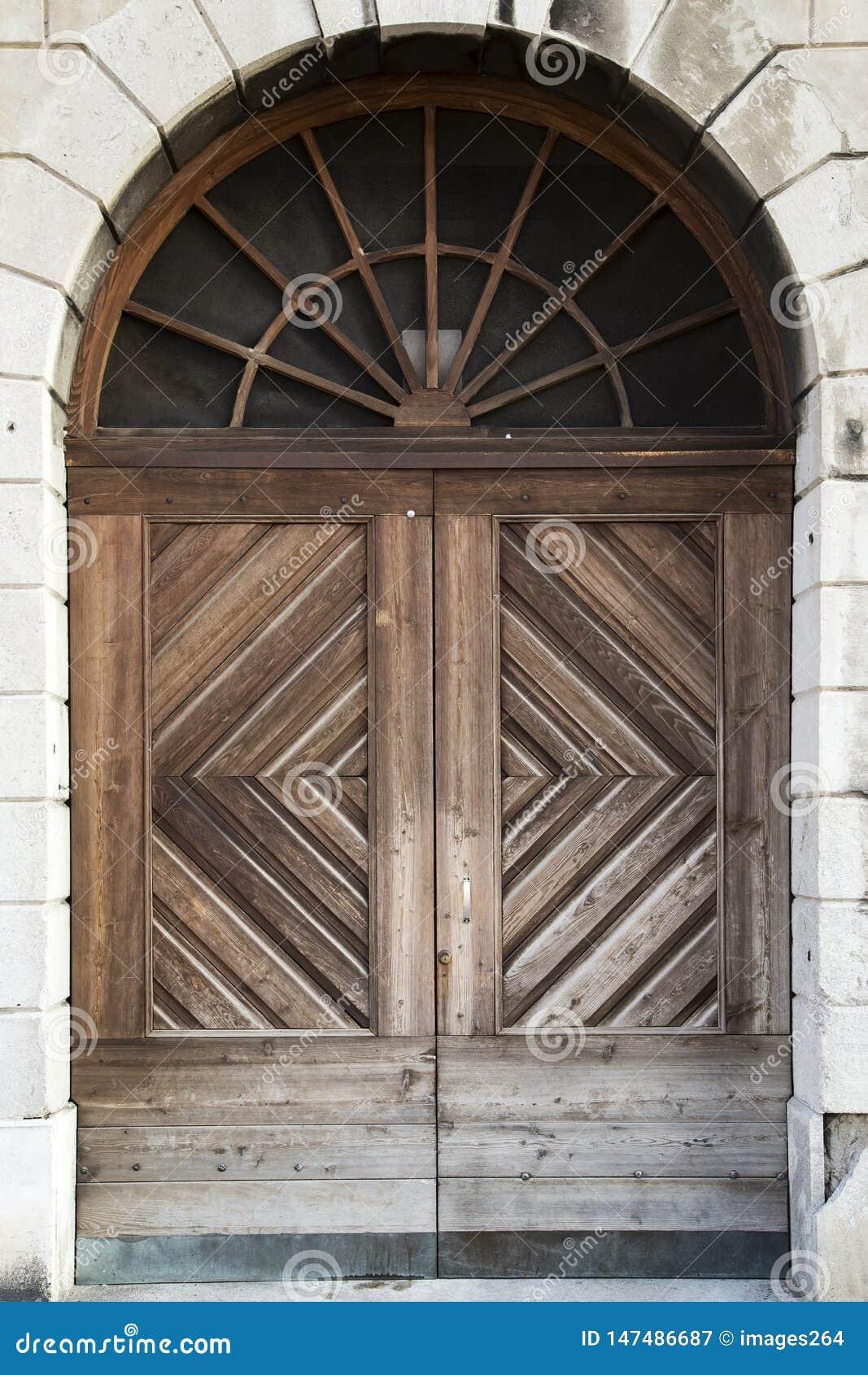 Massive wooden door
