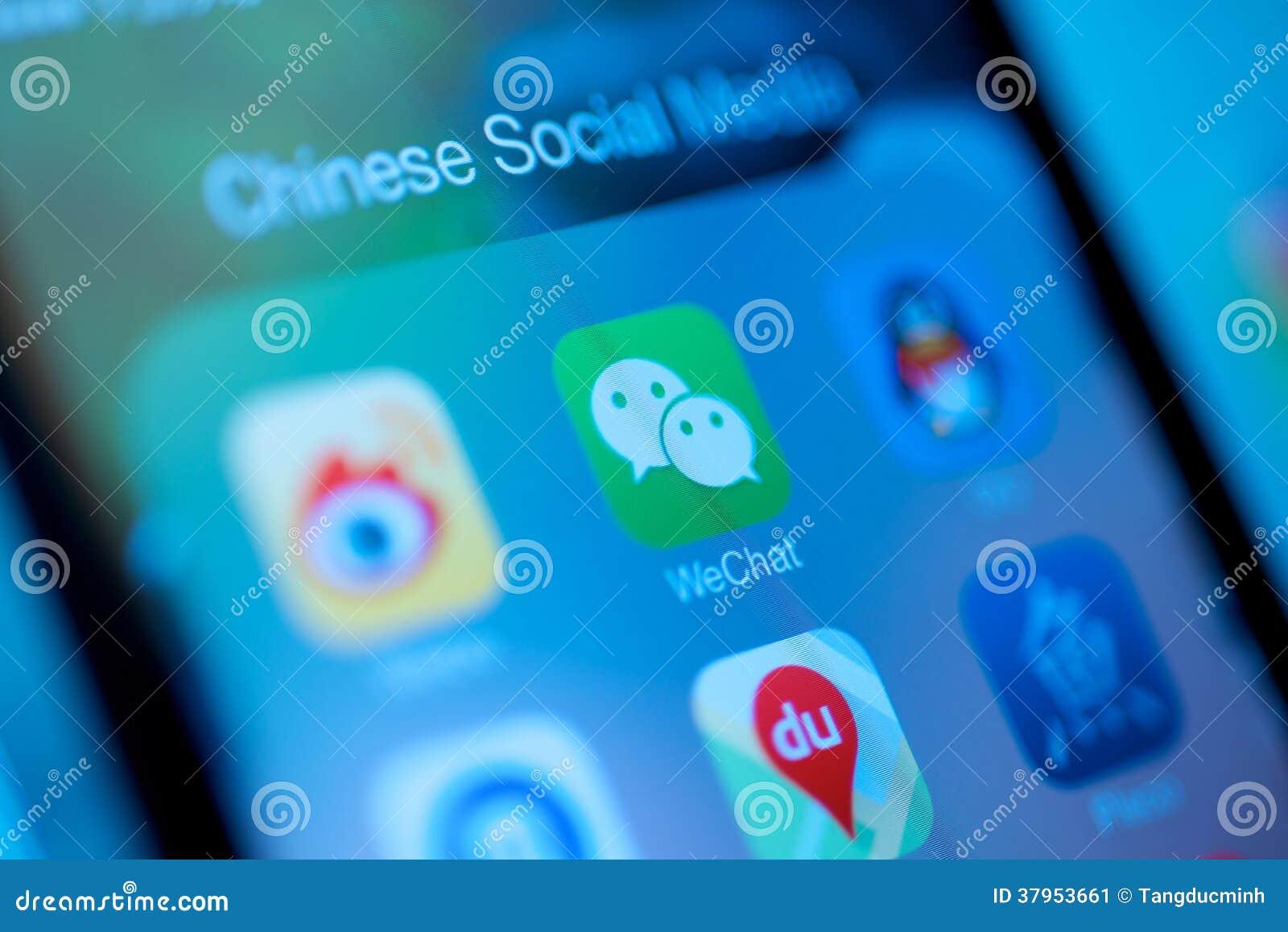 Massmedia för kinesWeChat samkväm
