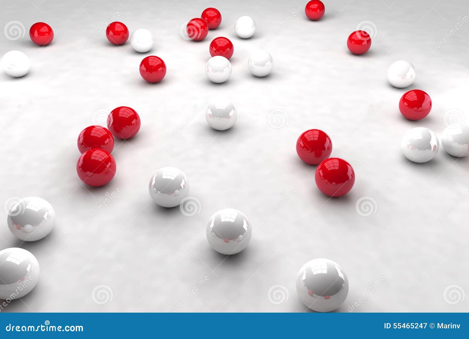 Massor av vita och röda bollar påverkar varandra