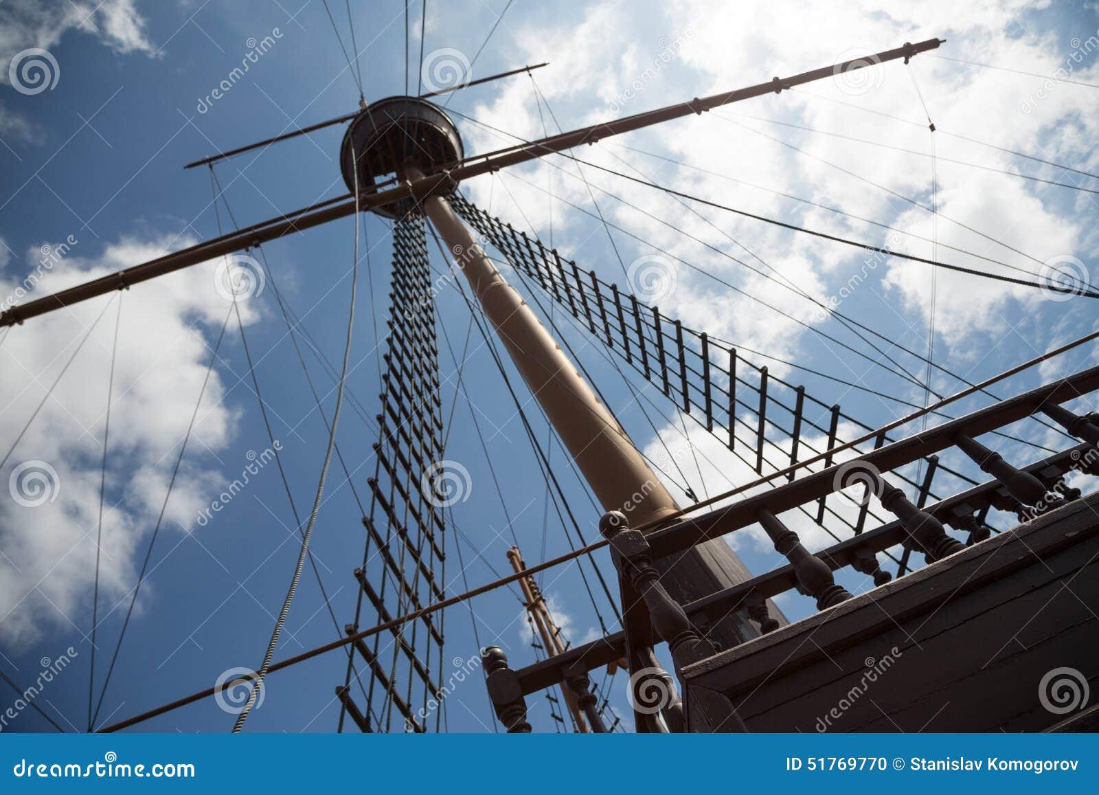 Mast och riggning på ett seglingskepp