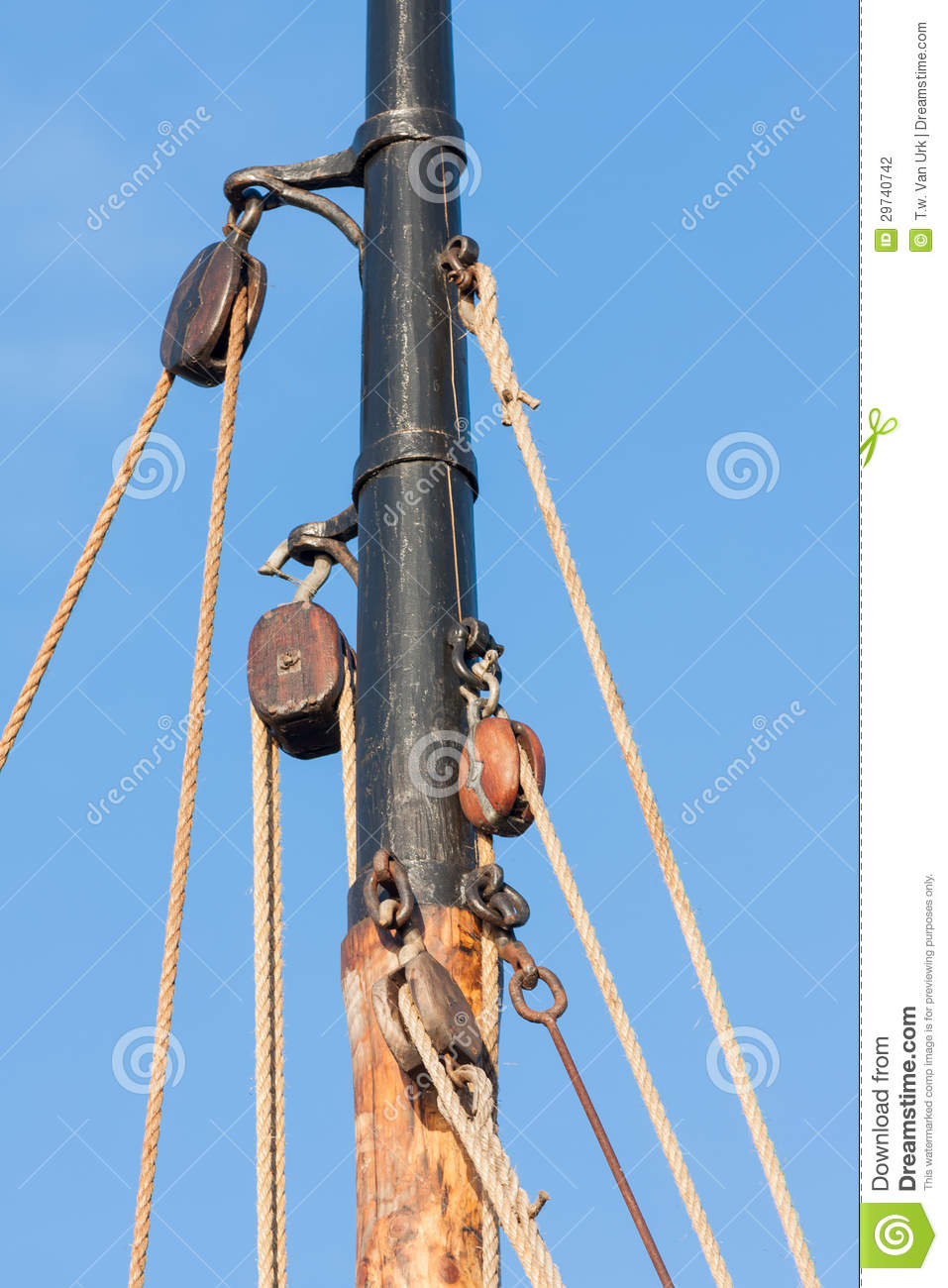 Mast And Rigging From Old Wooden Sailing Ship Stock Photography - Image: 29740742
