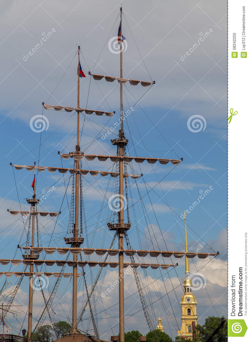 the mast of the ship