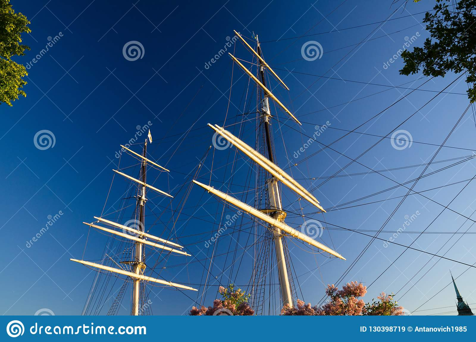 Mast with shroud rope of ship yacht with green leaves trees around