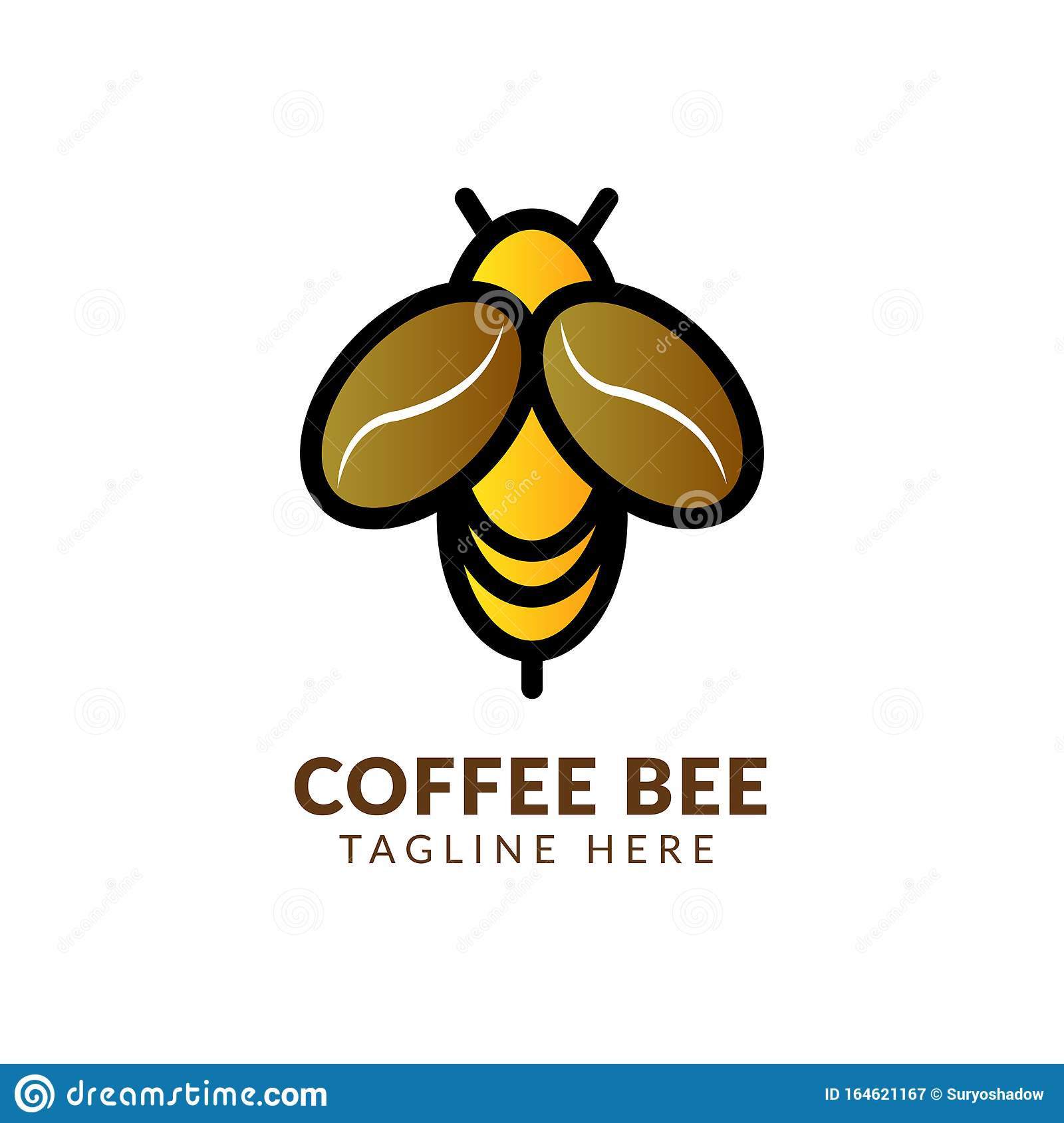 Illustration Of Coffee Cup Drink And Bee Logo Design ...