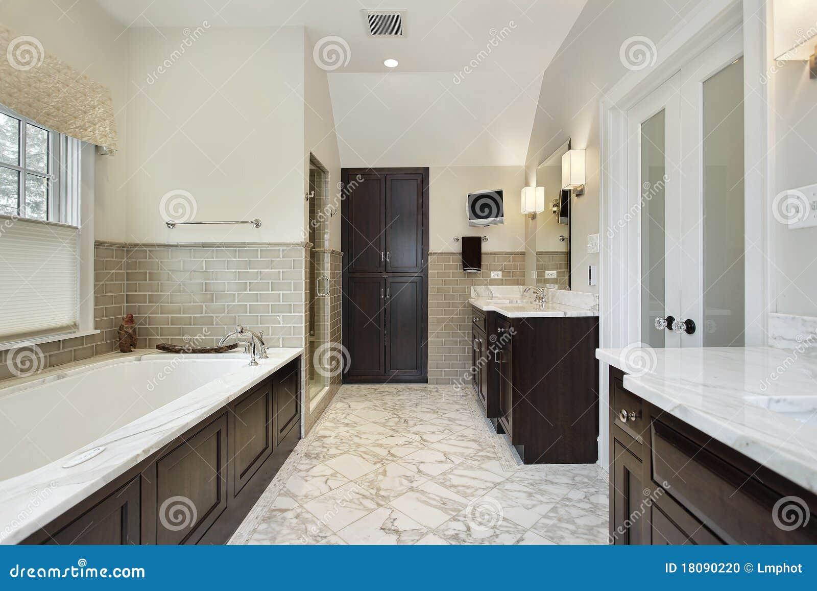 Master Bathroom Dark Cabinets master bath with dark wood cabinetry stock photo - image: 18090220