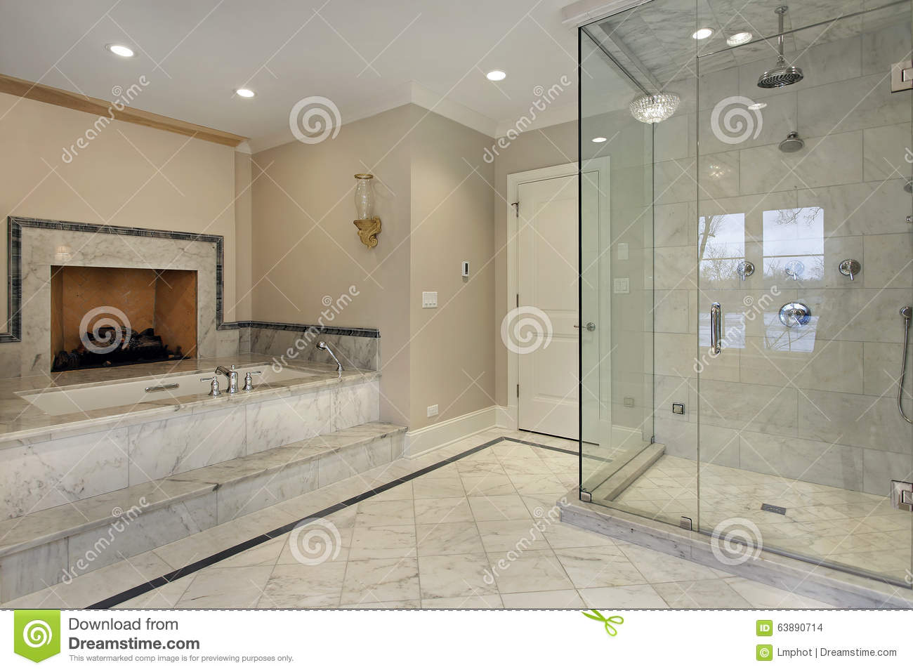 Master Bath With Fireplace Stock Photo - Image: 63890714