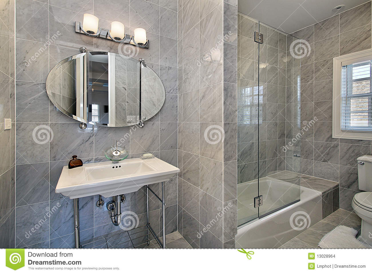 Master Bath With Gray Tile