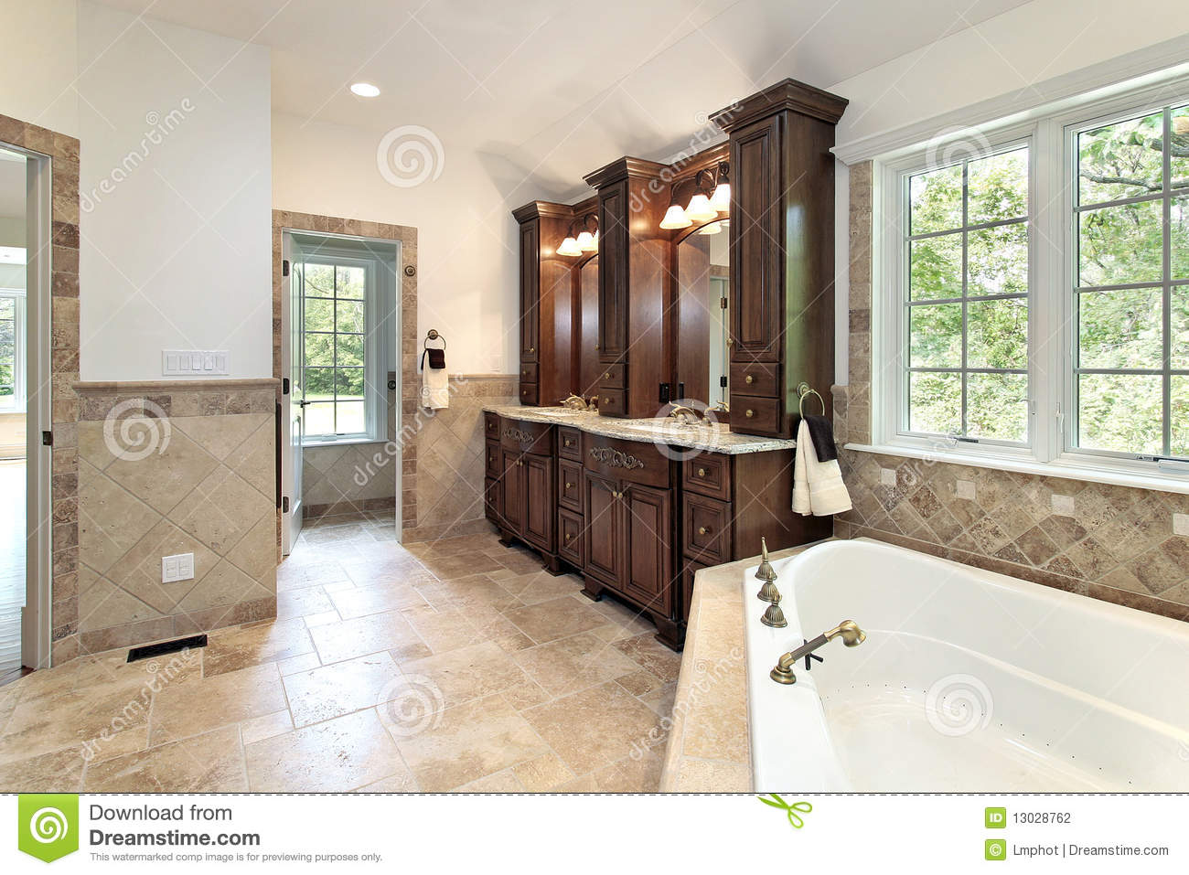 Master bath with jacuzzi tub stock photo image of home for Master bathroom jacuzzi
