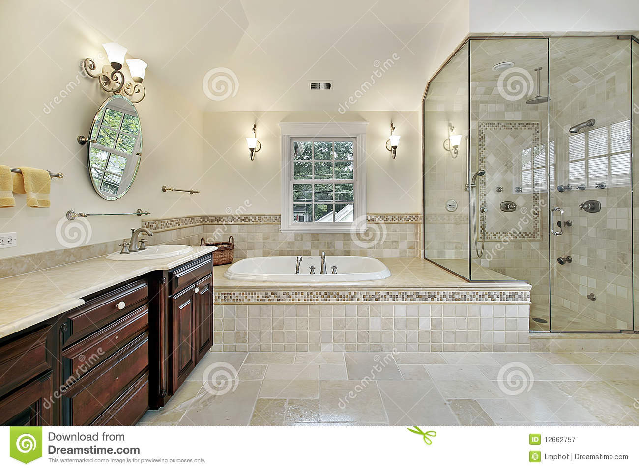 Master Bath With Large Glass Shower