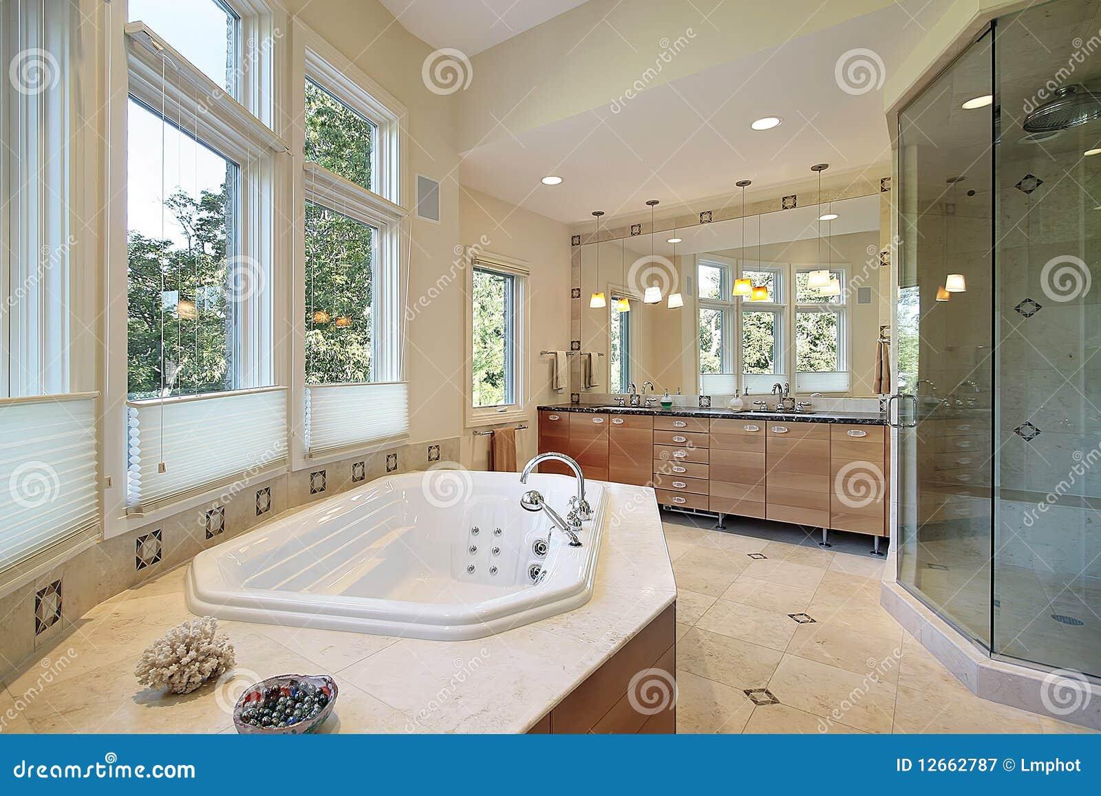 Master Bath With Large Glass Shower Stock Image Image 12662787