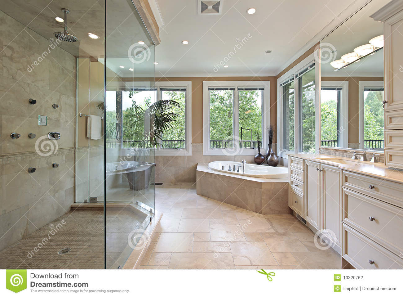 Master bath with large glass shower stock photo image for Bathroom designs 12x8