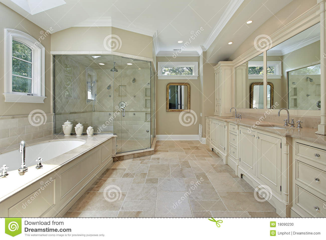 Master Bath With Large Glass Shower Stock Photo Image Of Estate Suburban 18090230
