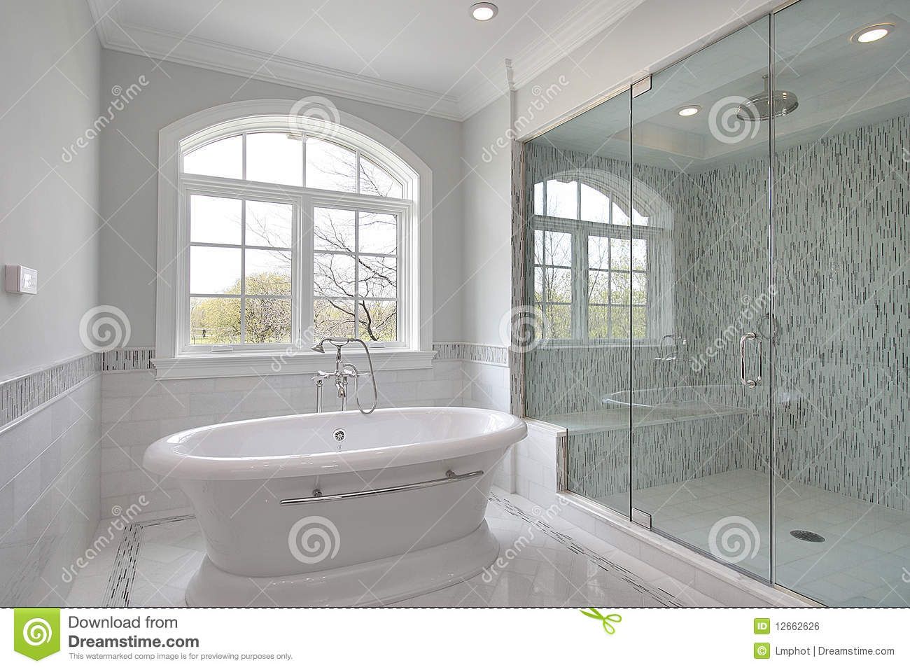 Master bath with large glass shower stock photo for Huge master bathroom