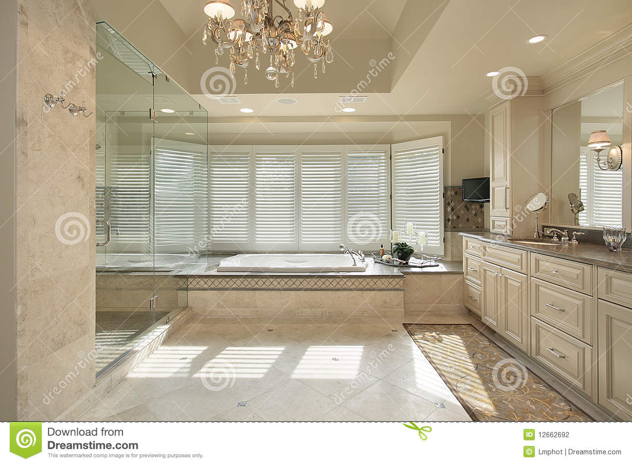 Master bath with large tub stock photography image 12662692 for Large master bathroom