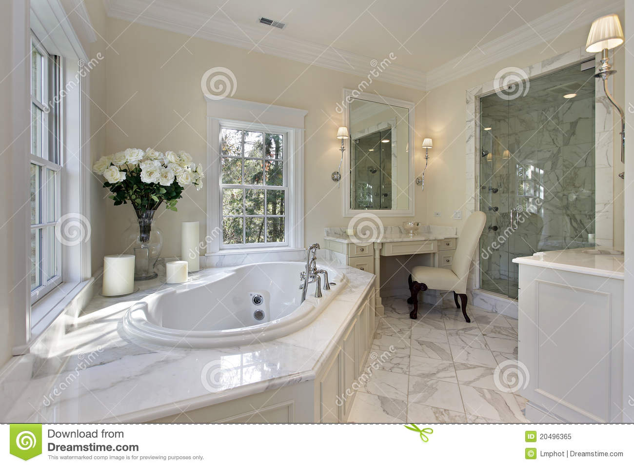 Master bath in luxury home stock image image of master for Bathroom designs 12x8
