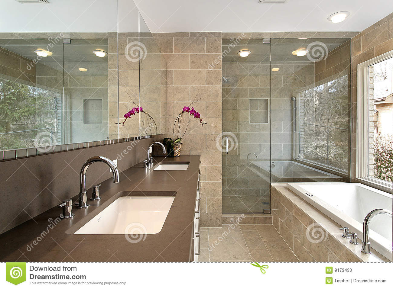 Master bath in luxury home stock image. Image of fixtures ...