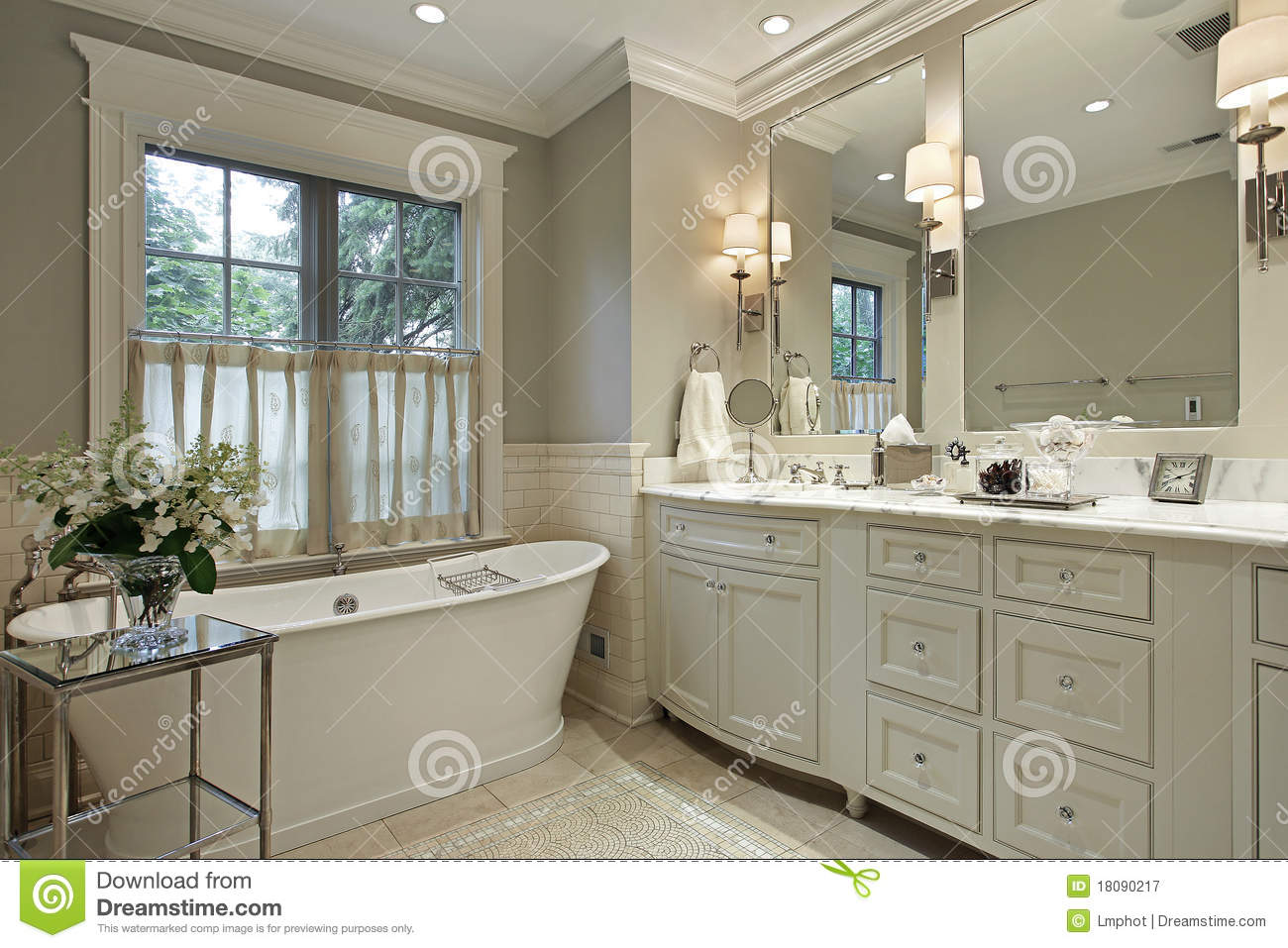 Master Bath With Marble Counter Stock Image Image Of