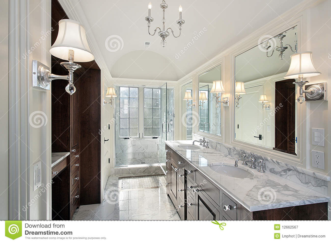 Master Bath With Marble Shower Stock Image Image 12662567