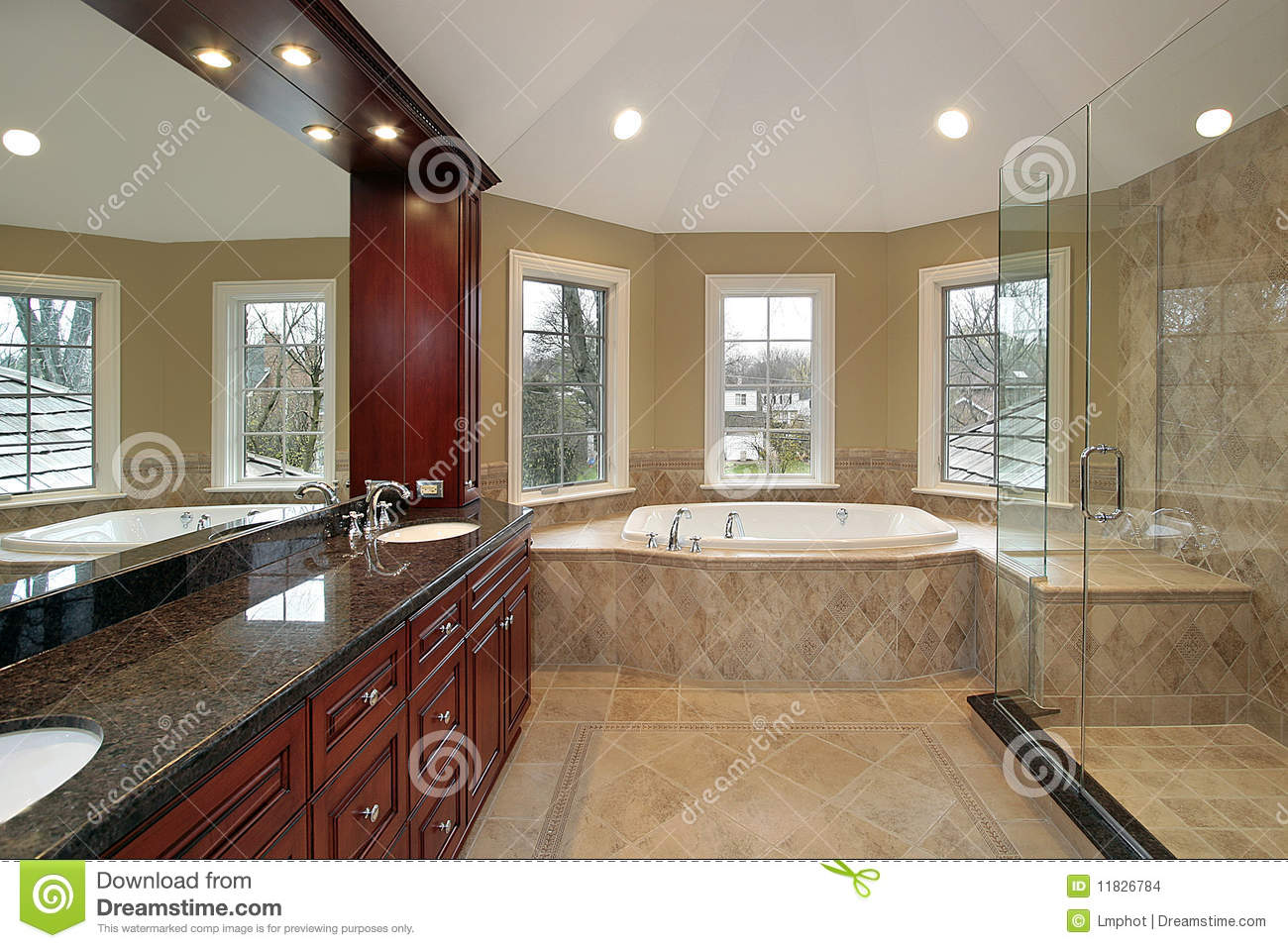 Master Bath With Marble Tub