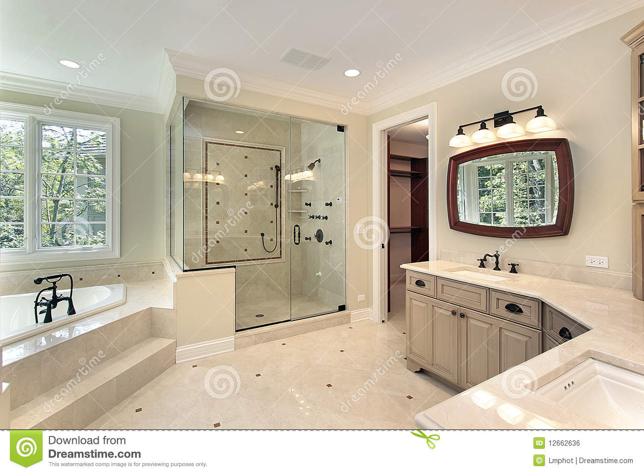 Master bath in new construction home stock photo image for Pictures of master bathrooms in new homes