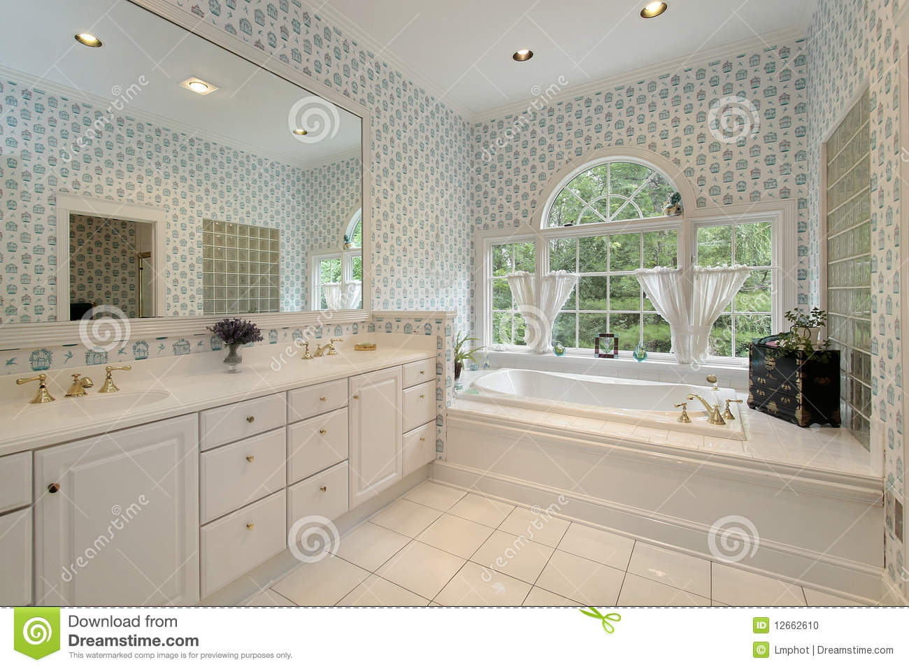Master bath with rounded windows stock photo image 12662610 for Master bath windows