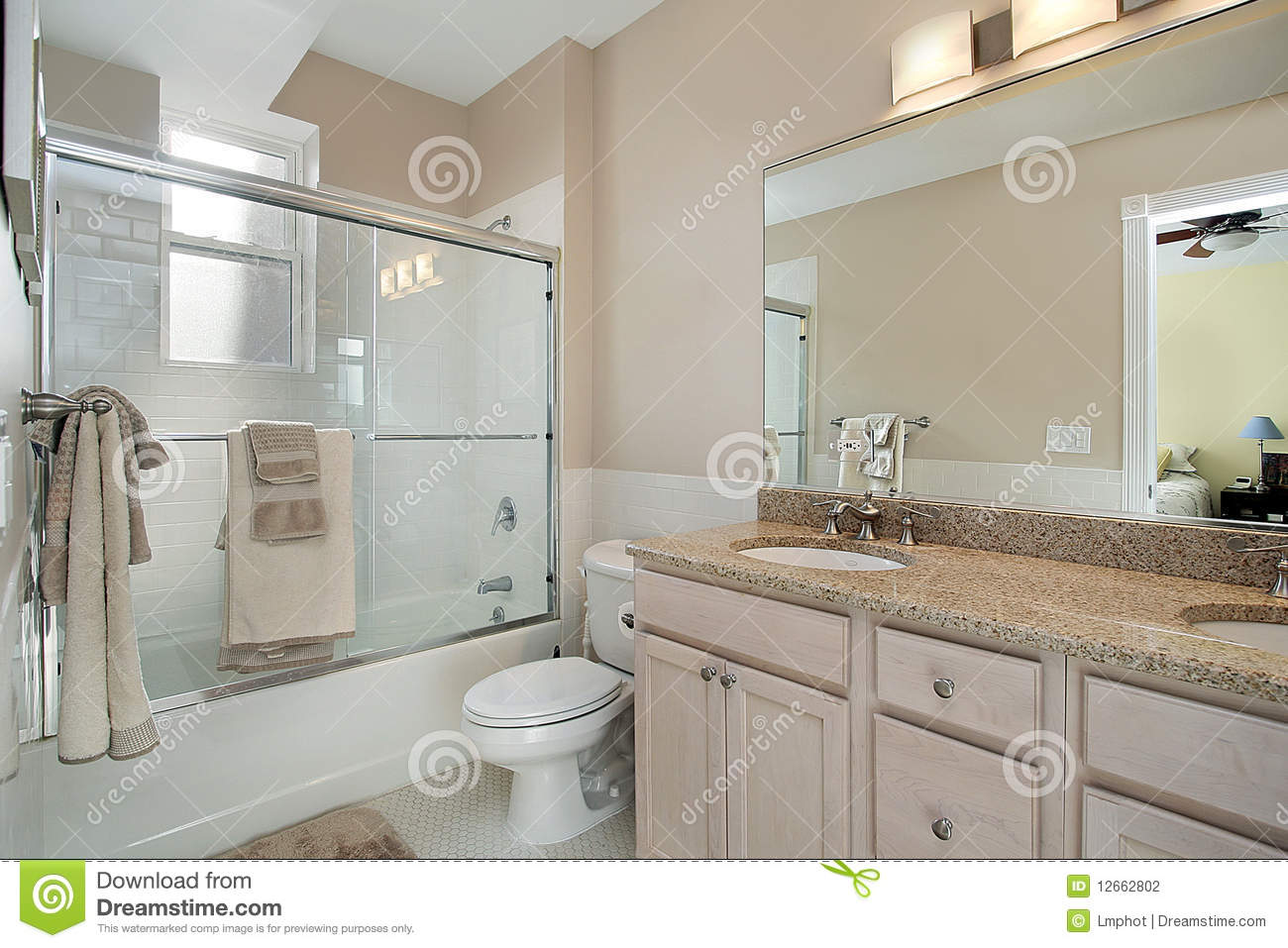 Master Bath With Sliding Glass Shower Door Stock Photo Image Of