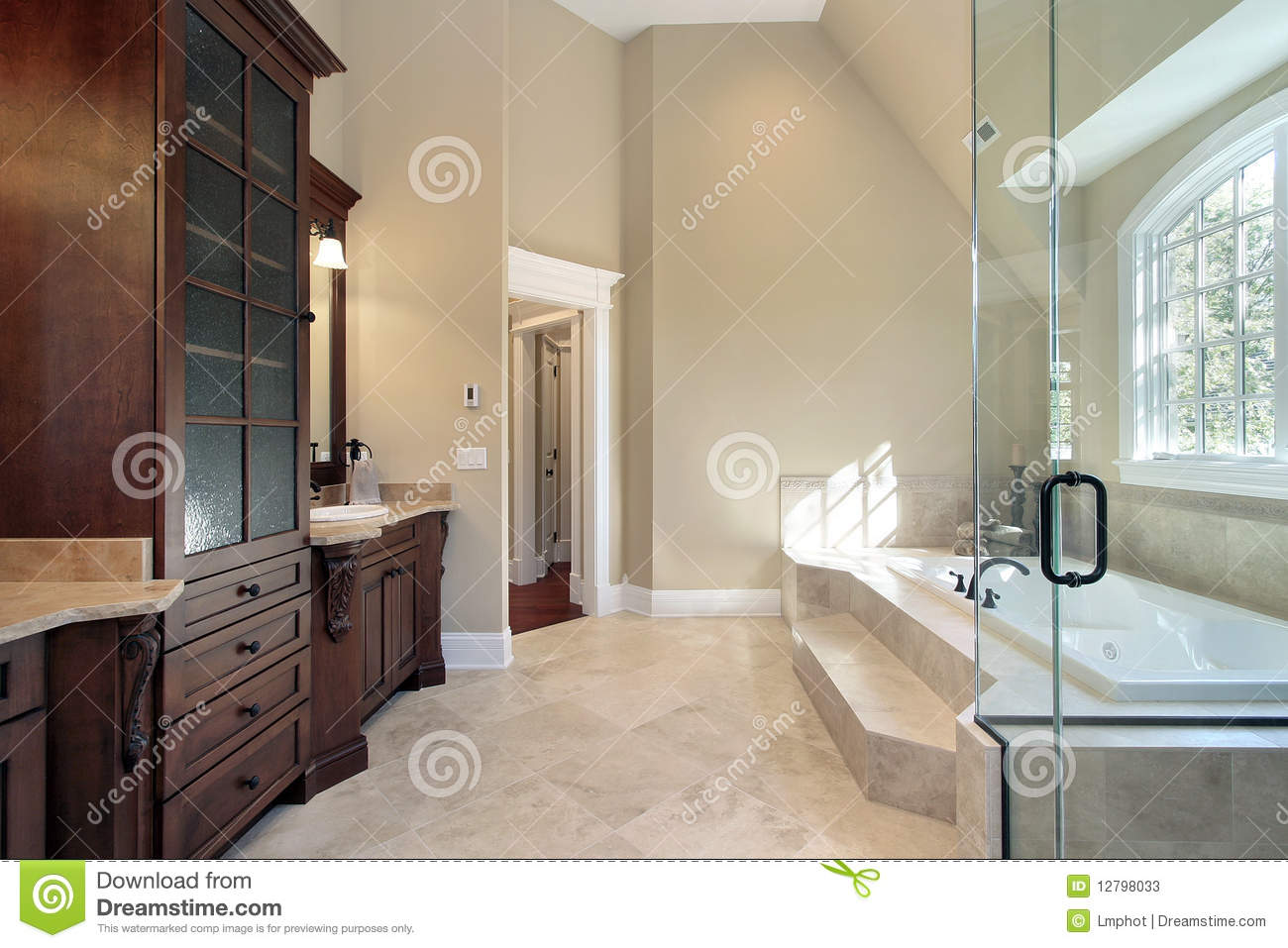 Master Bath With Step Up Tub Stock Image - Image of interior ...