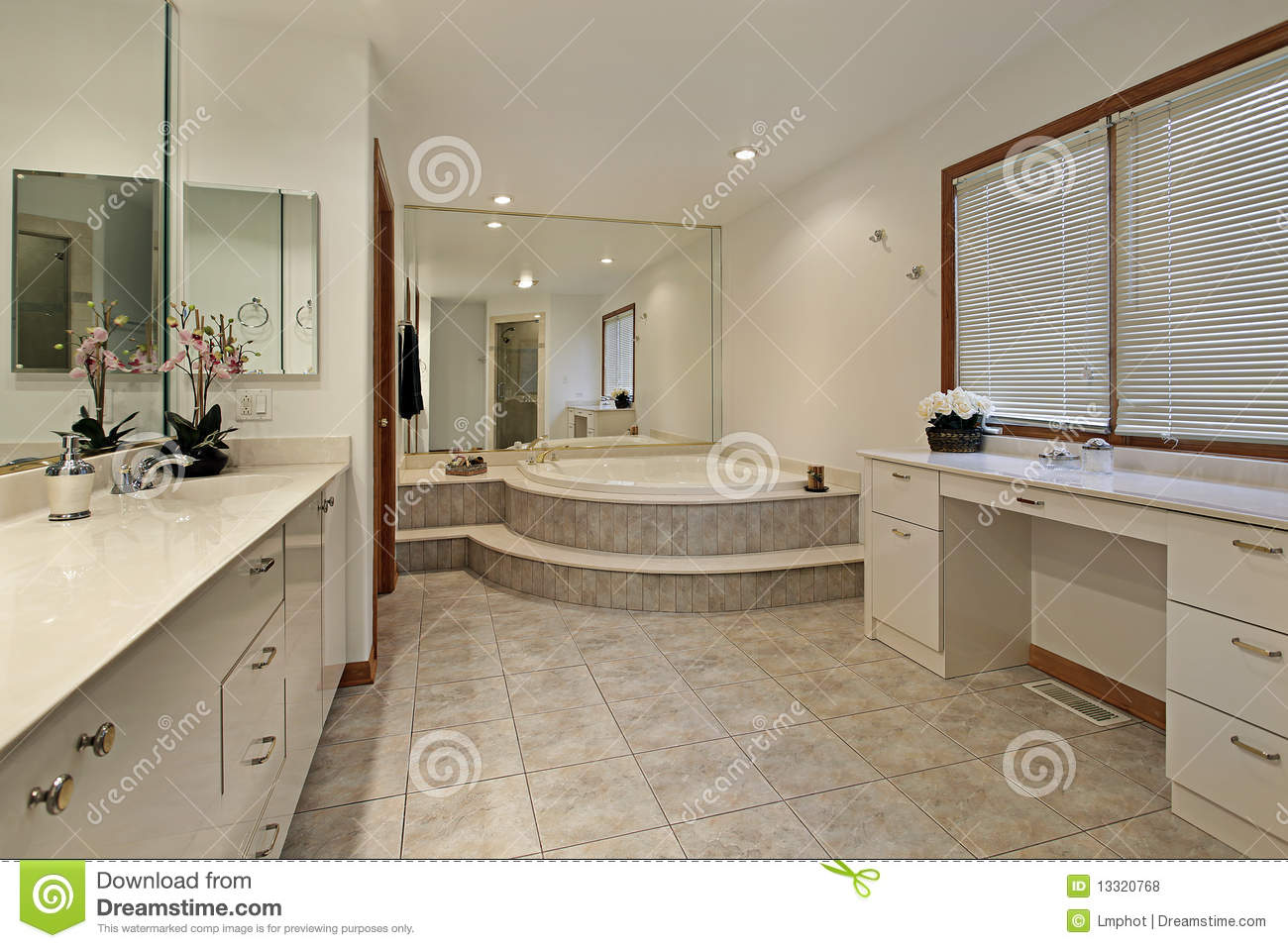 Master bath with step up tub stock photo image of for Bathroom designs 12x8