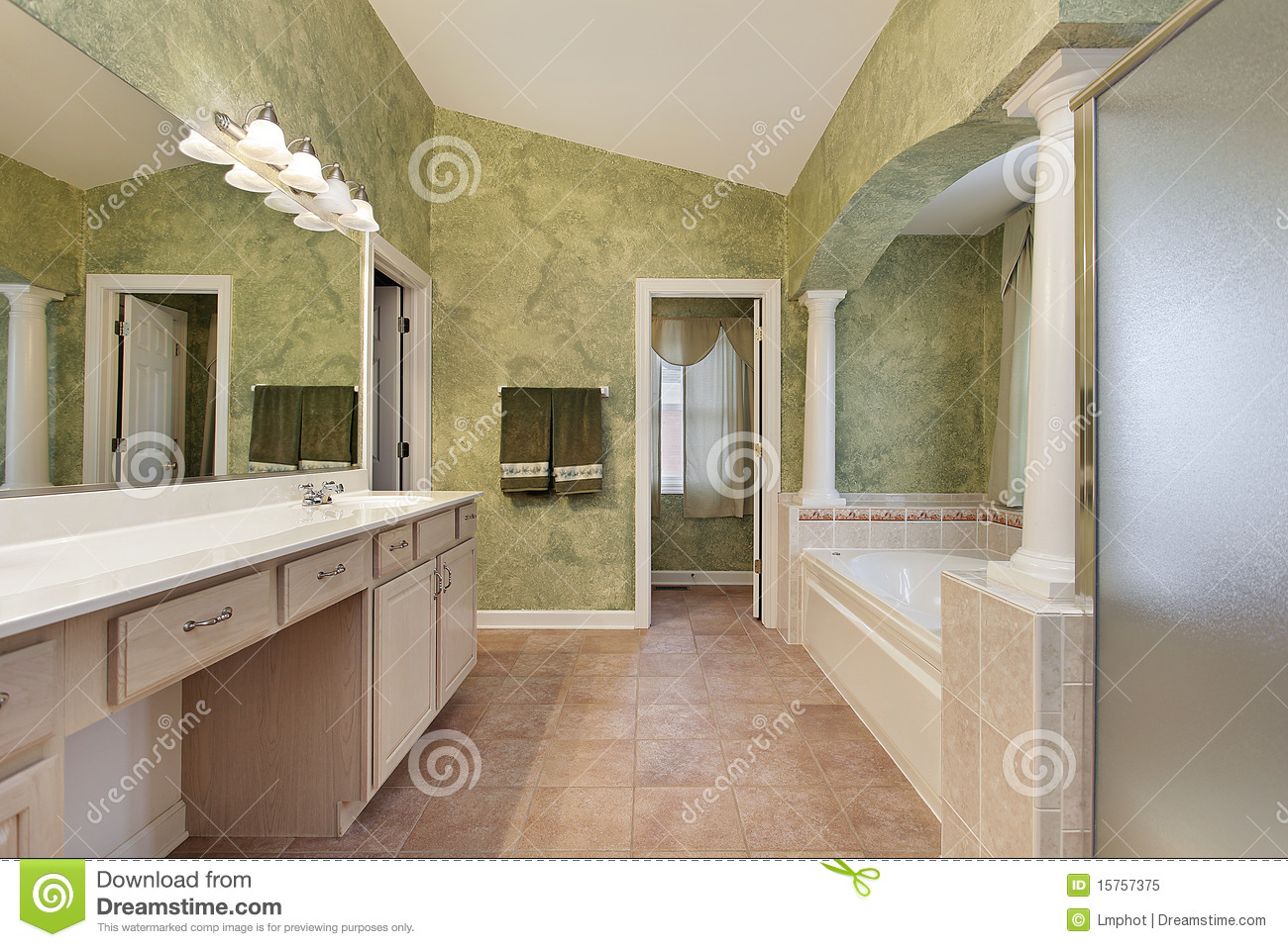 Master bath with tub columns stock image image 15757375 for Bathroom designs 12x8