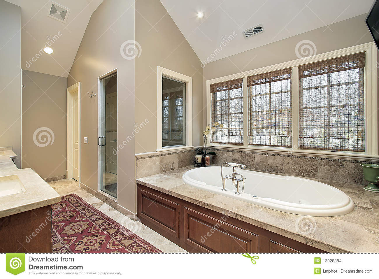 Master Bath With Wood Paneled Tub Stock Photo - Image of master ...
