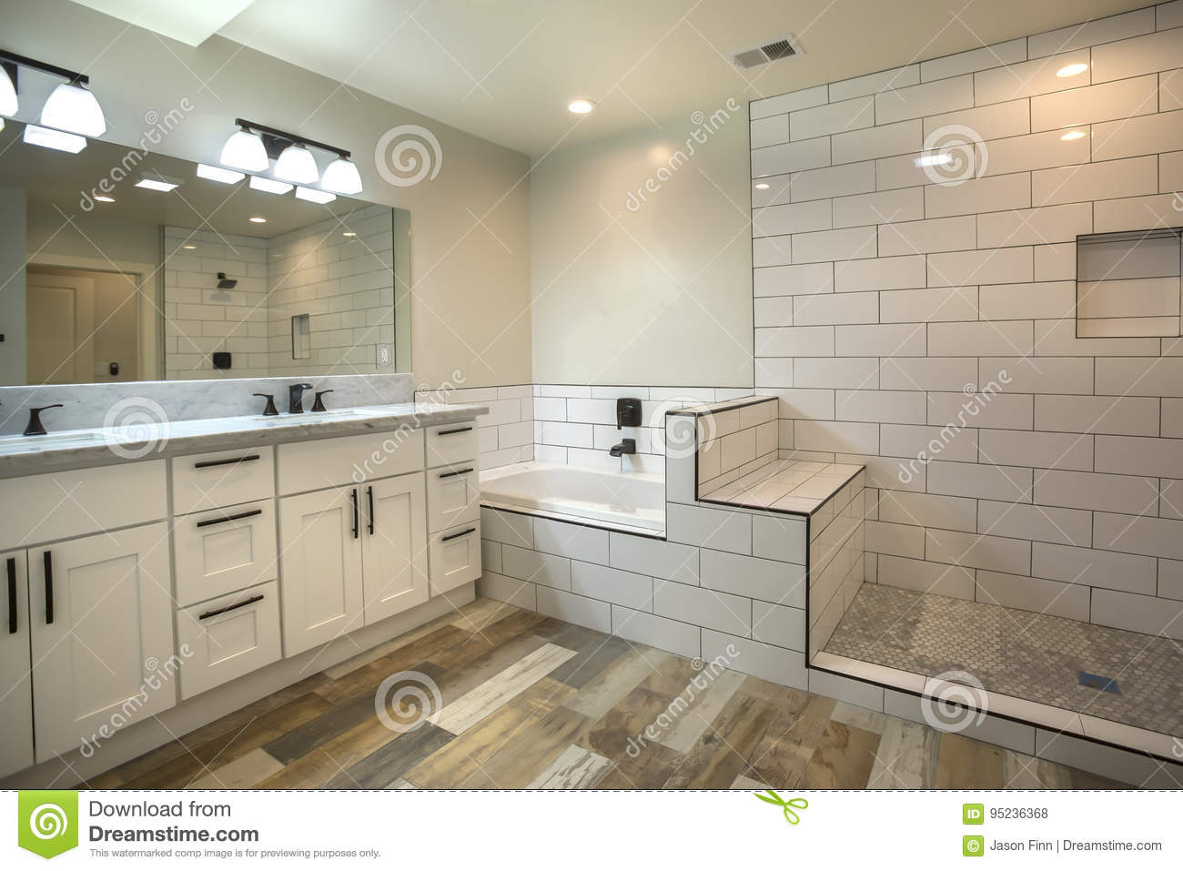 Master Bathroom With Bath Tub And Tile Shower In San Diego With ...