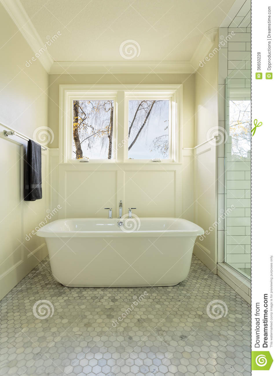 Master Bathroom Bathtub With Windows Stock Photo Image