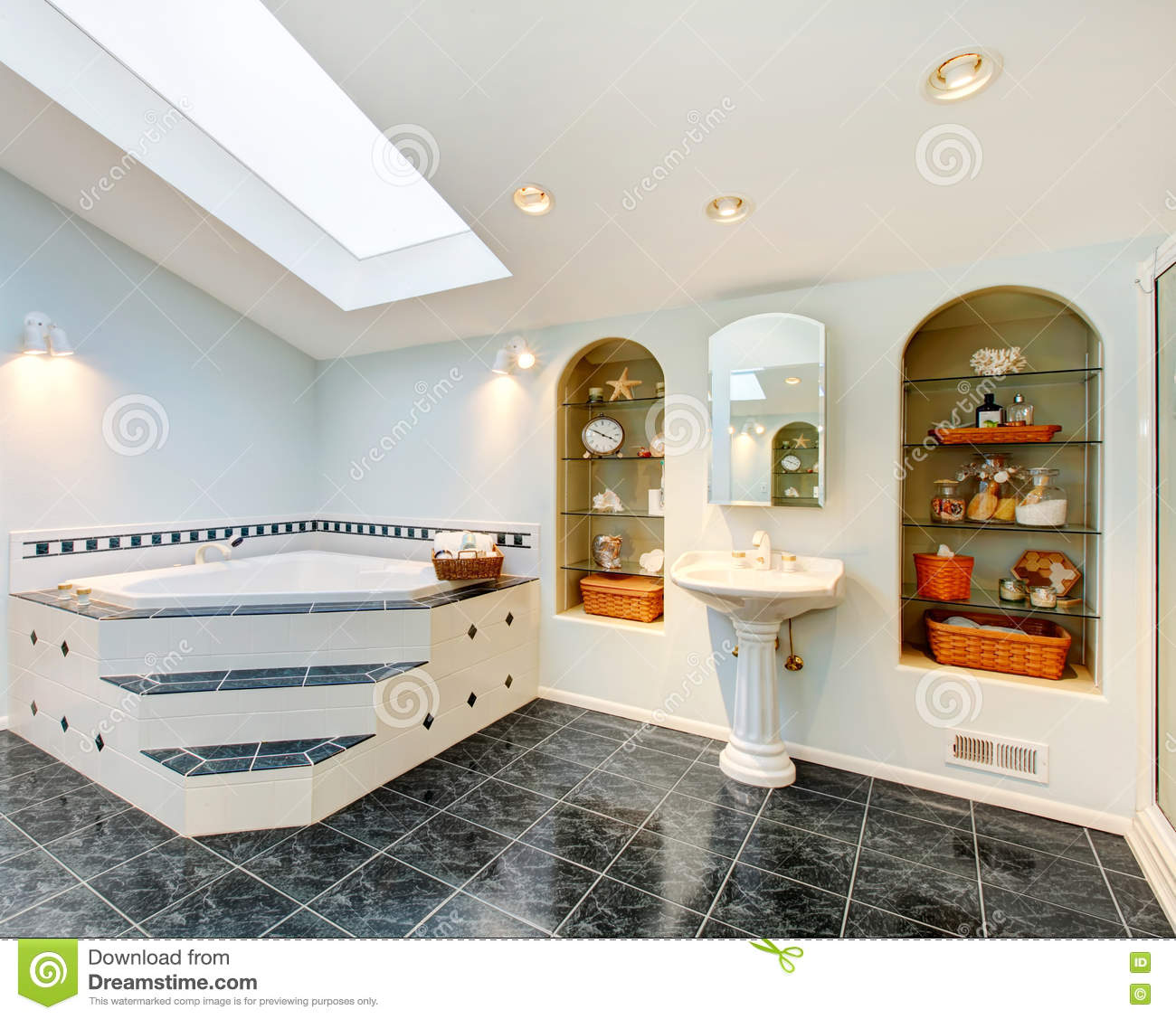 Master Bathroom With Blue Marble Tile Floor And Corner Bath Tub Stock Image Image 75361577