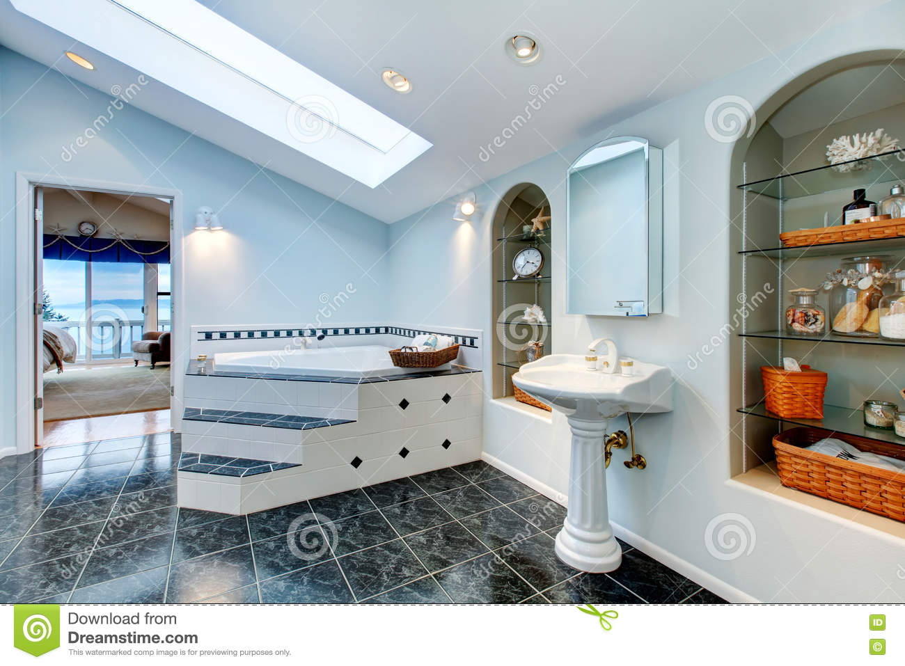 Master Bathroom With Blue Marble Tile Floor And Corner Bath Tub ...