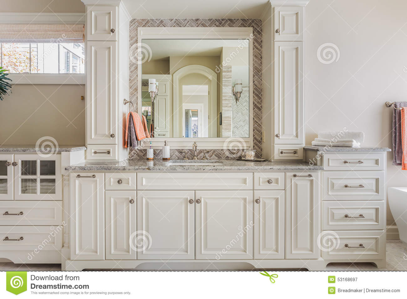 Master bathroom cabinets sink and vanity stock photo image
