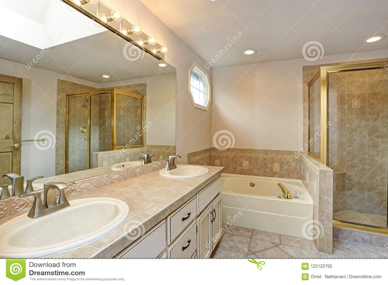 Master Bathroom With Double Vanity Cabinet And Shower Stock Image Image Of Cabinets Beautiful 122122765