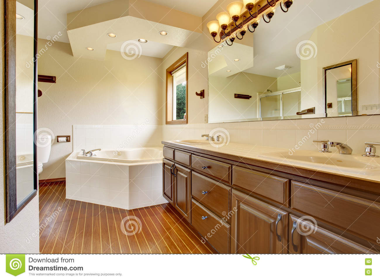 Master Bathroom Interior With Brown Cabinets Large Mirror With