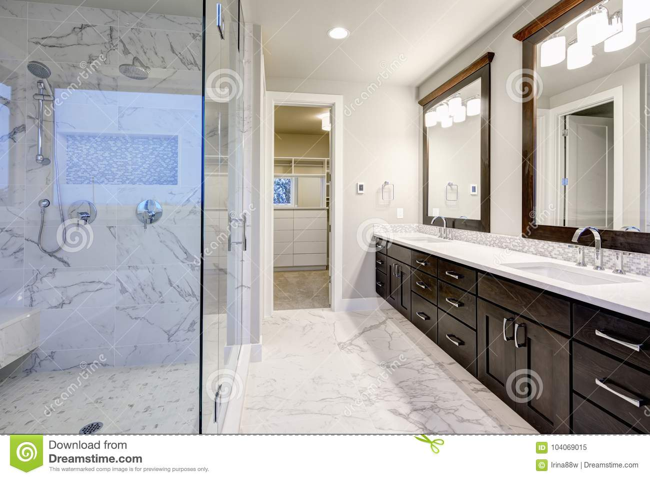 Master Bathroom Interior With Double Vanity Cabinet Stock Image Image Of Bath Project 104069015