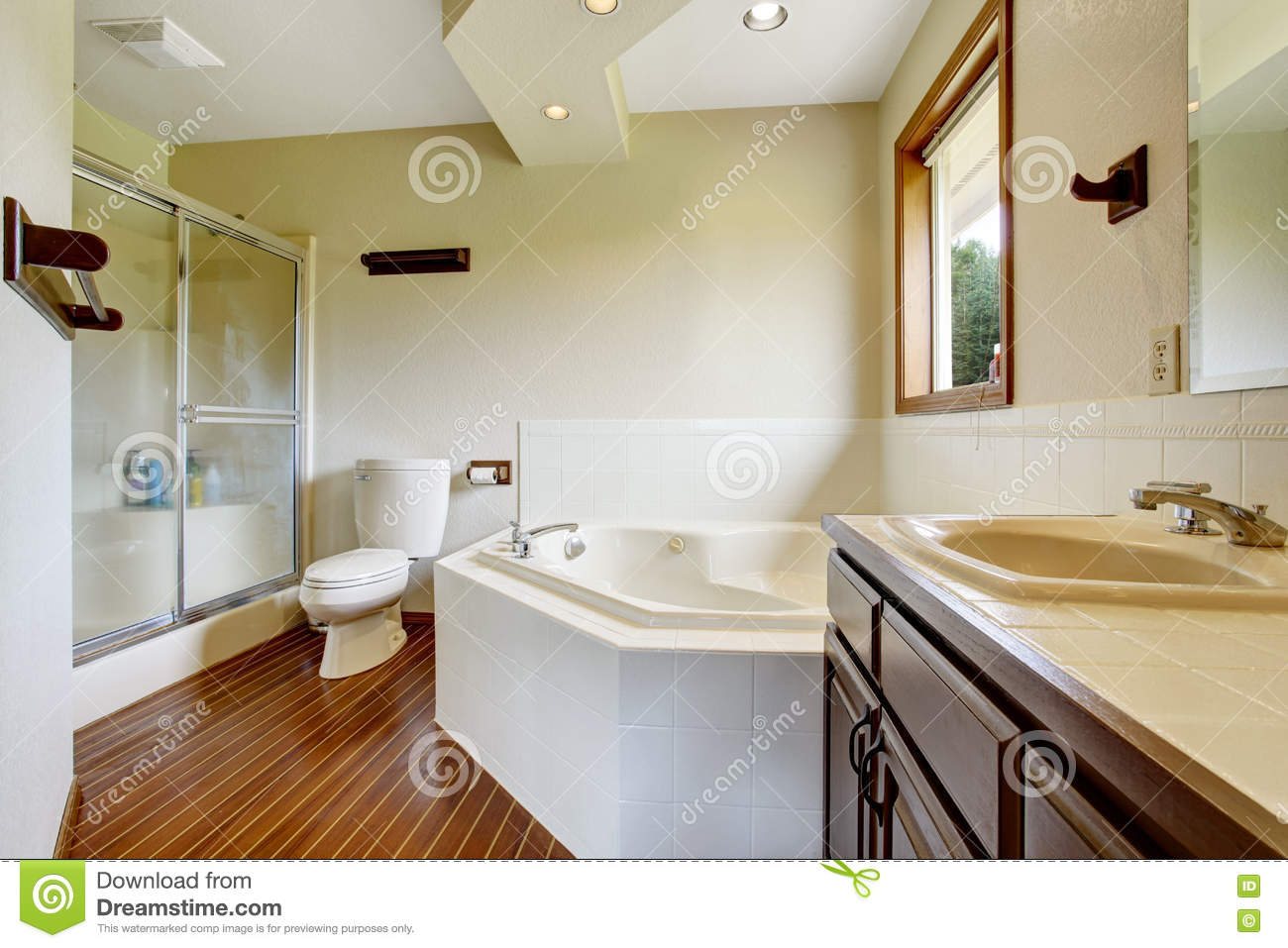 Master Bathroom Interior With Glass Shower, Hardwood Floor And White ...