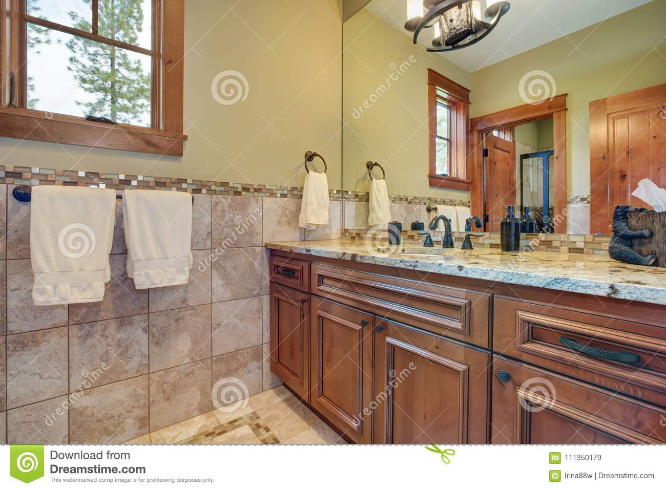 - Master Bathroom Interior With Close Up Of Bathroom Vanity Stock