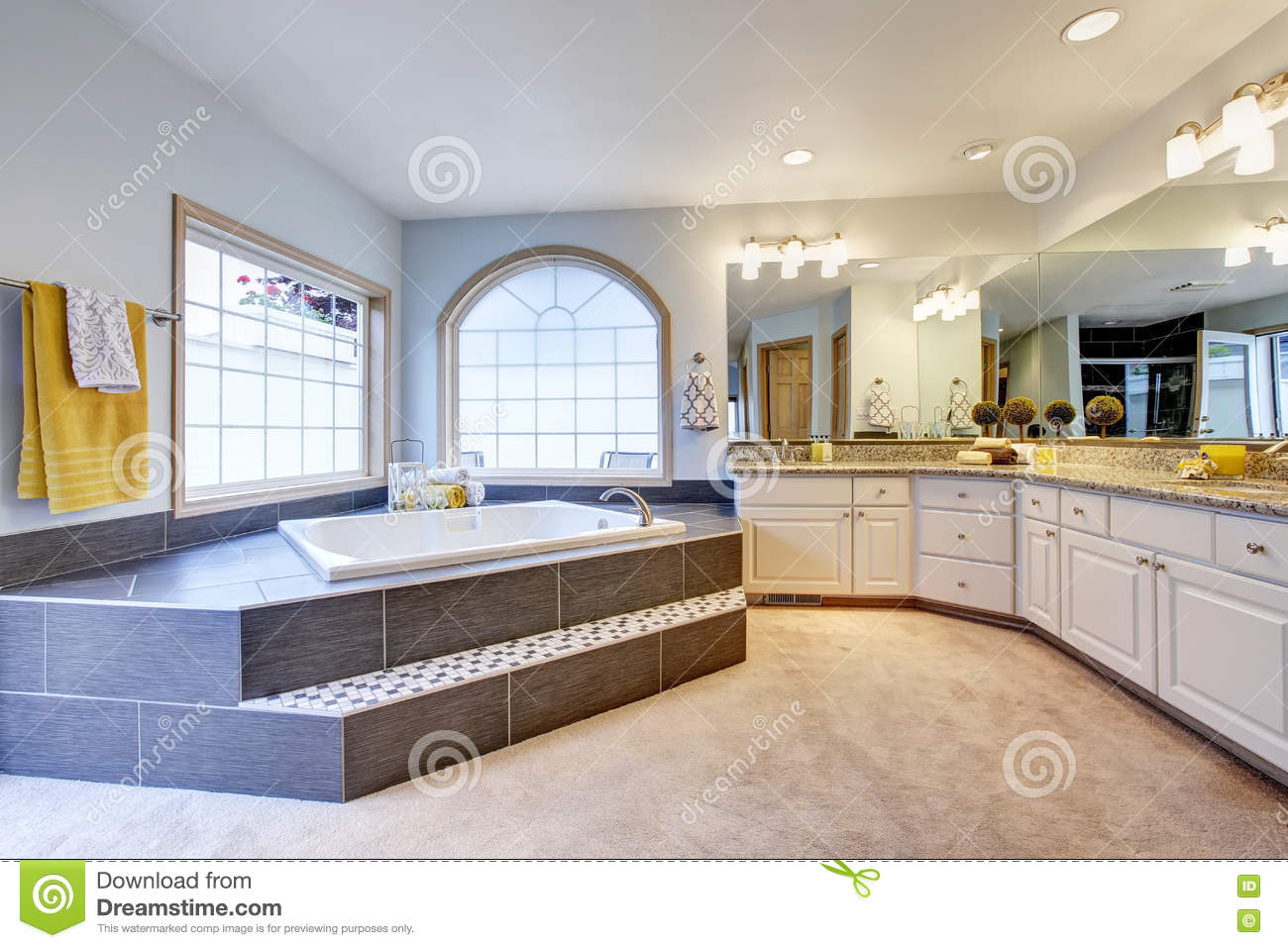 Master Bathroom With Large Mirror, Long Counter And Luxury Bathtub ...