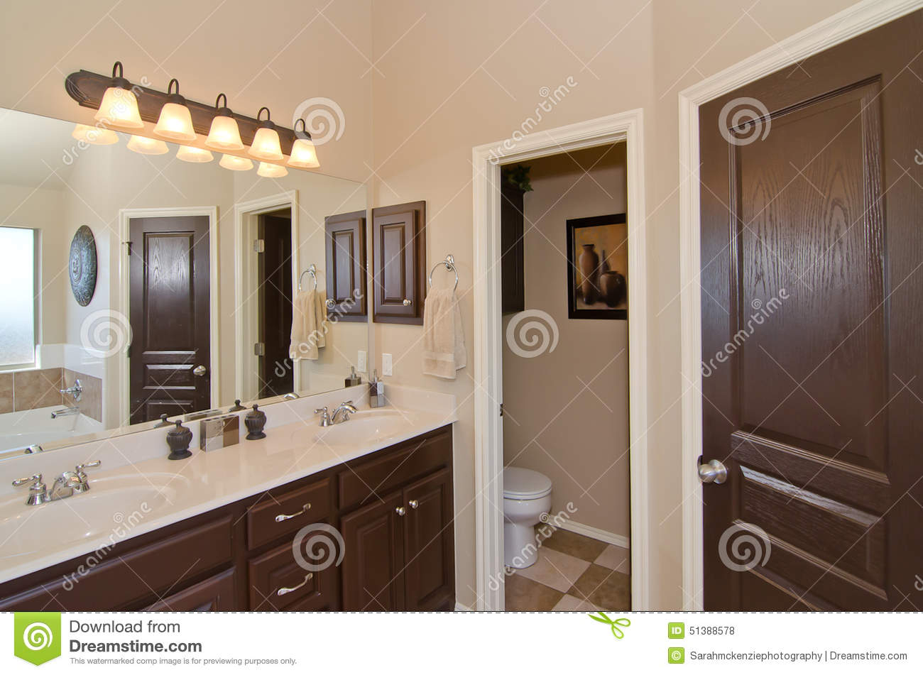Master bathroom in modern home stock photo image 51388578 for Master bathroom with closet