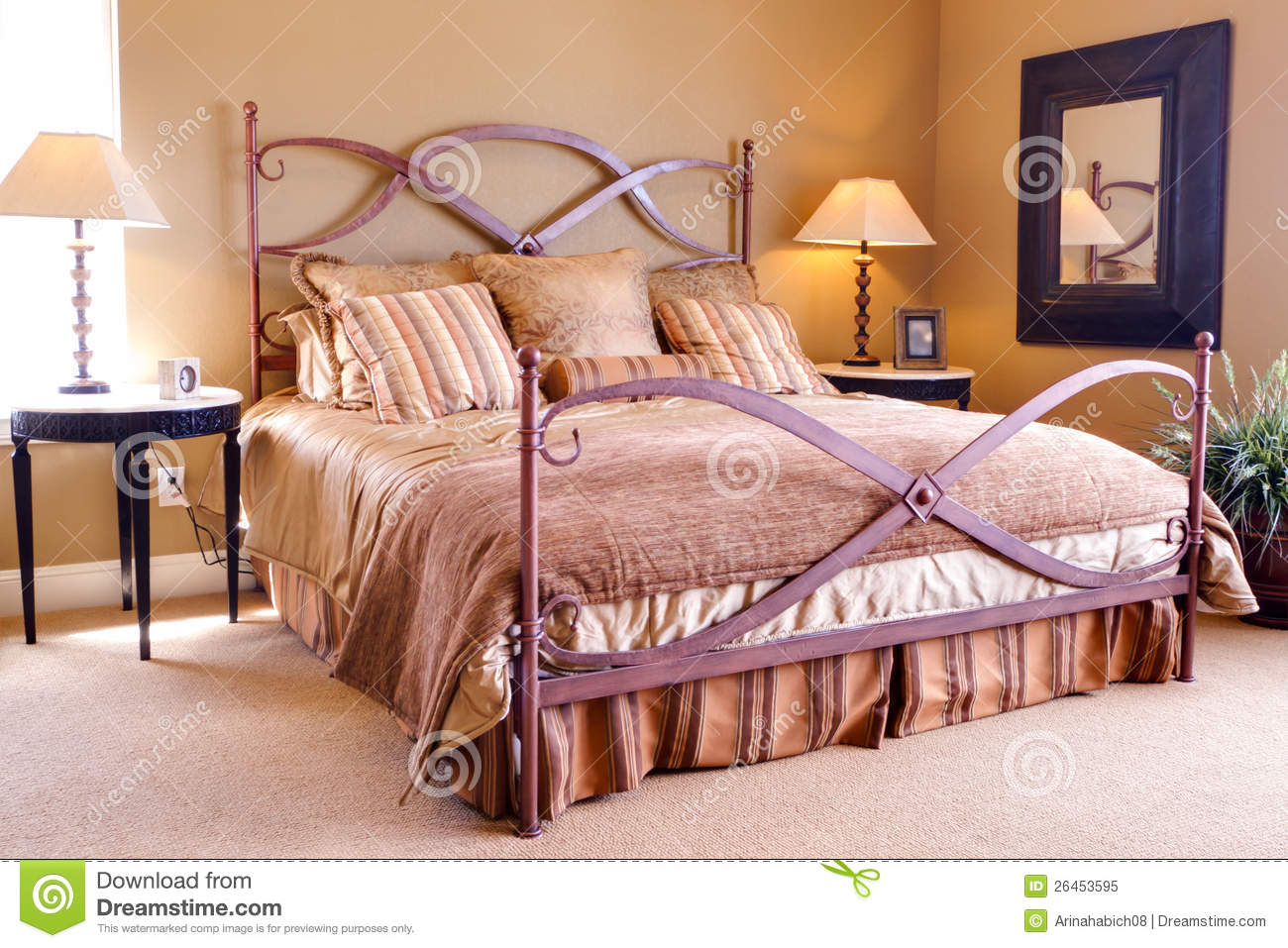 Romantic Master Bedroom Interior With Walkout Deck Royalty Free Stock Photography