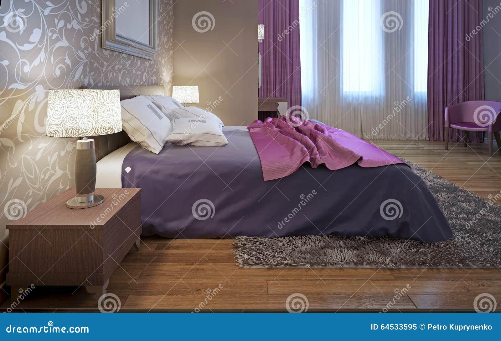 Master bedroom in avantgarde style stock photo image 64533595 - Bedroom interior pink purple ...