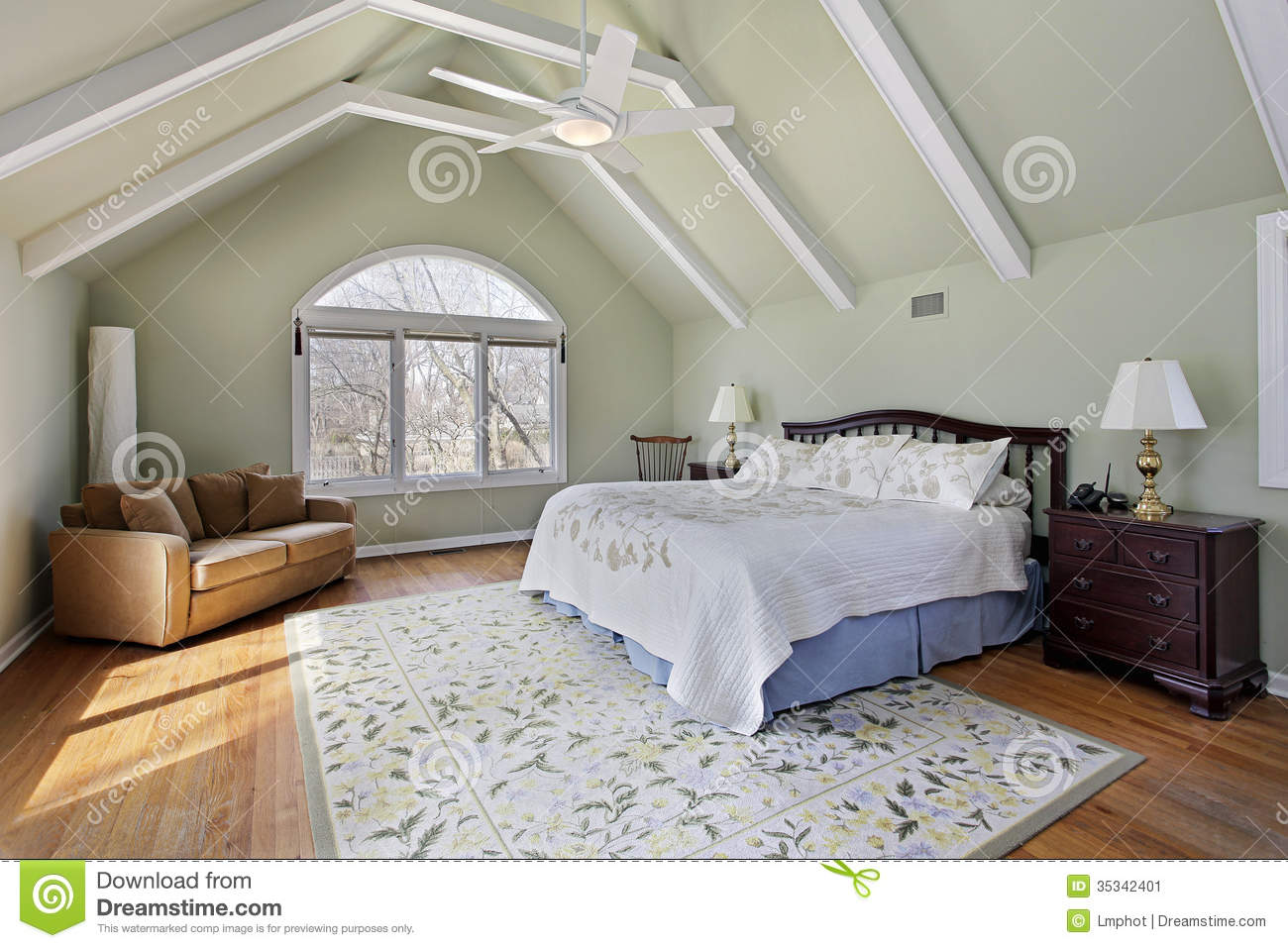 Master Bedroom With Ceiling Beams Stock Image Image