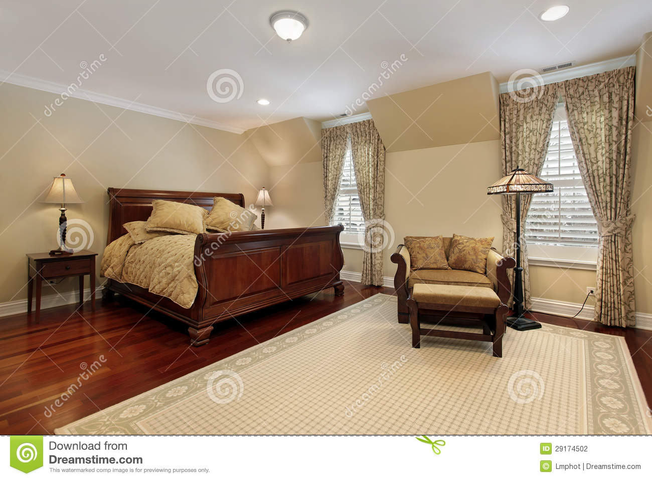 carpet for master bedroom master bedroom with cherry wood flooring stock photography 14705