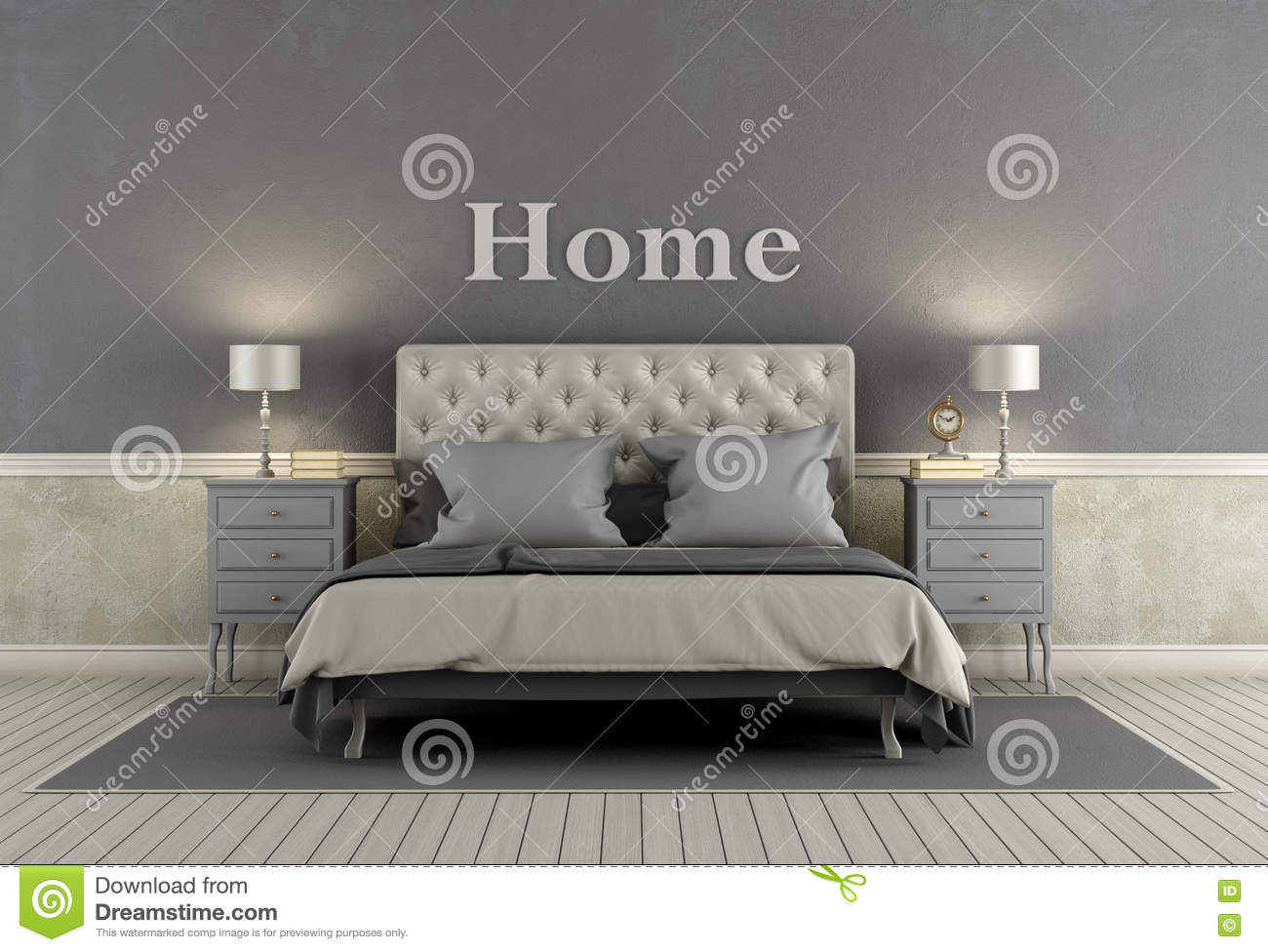 Master Bedroom In Classic Style Stock Illustration ...