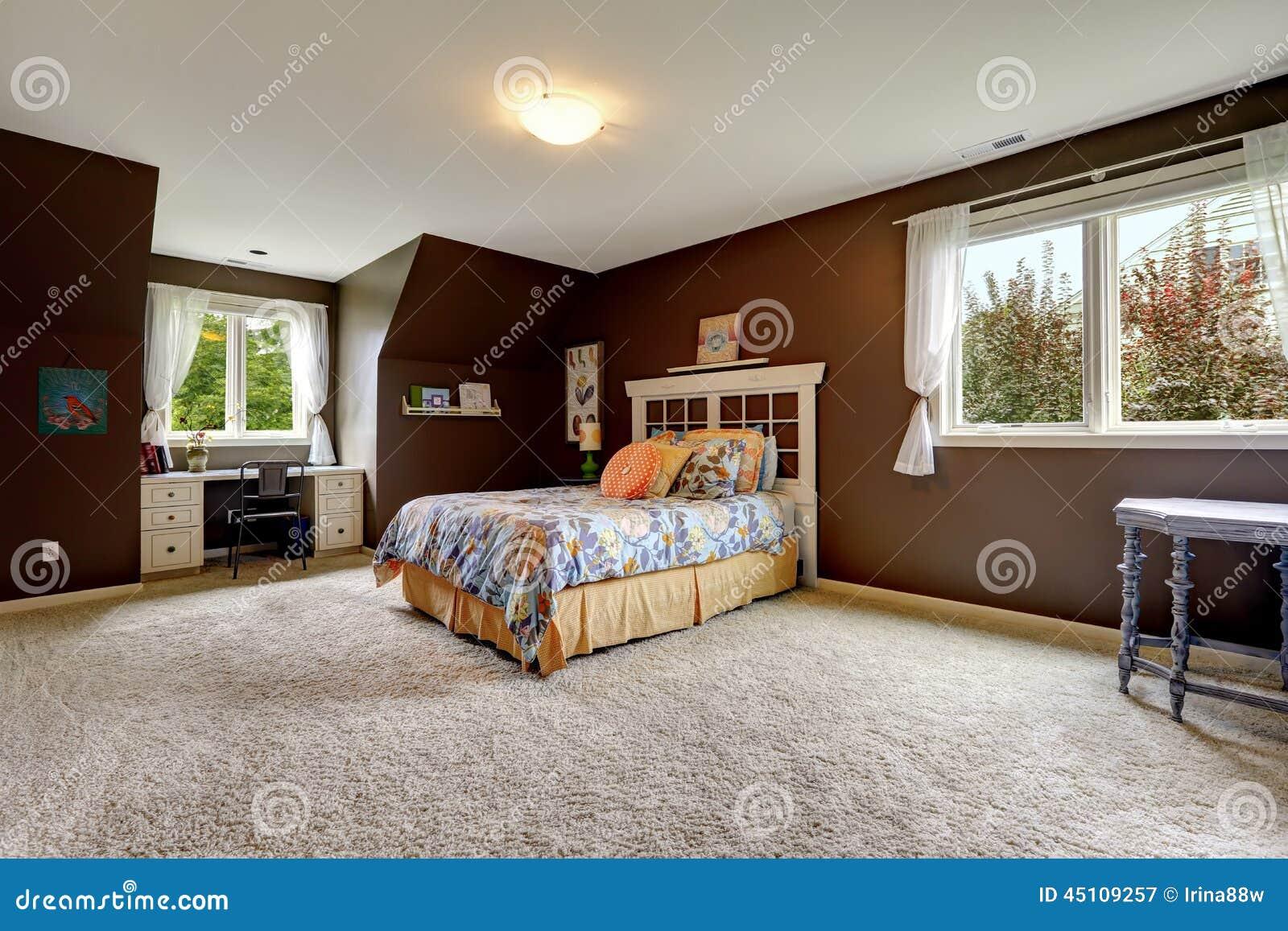 office in master bedroom. Master Bedroom In Dark Brown Color With Office Area H