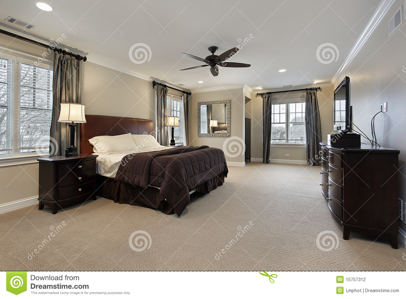 Master Bedroom With Dark Wood Furniture Stock Photo Image Of