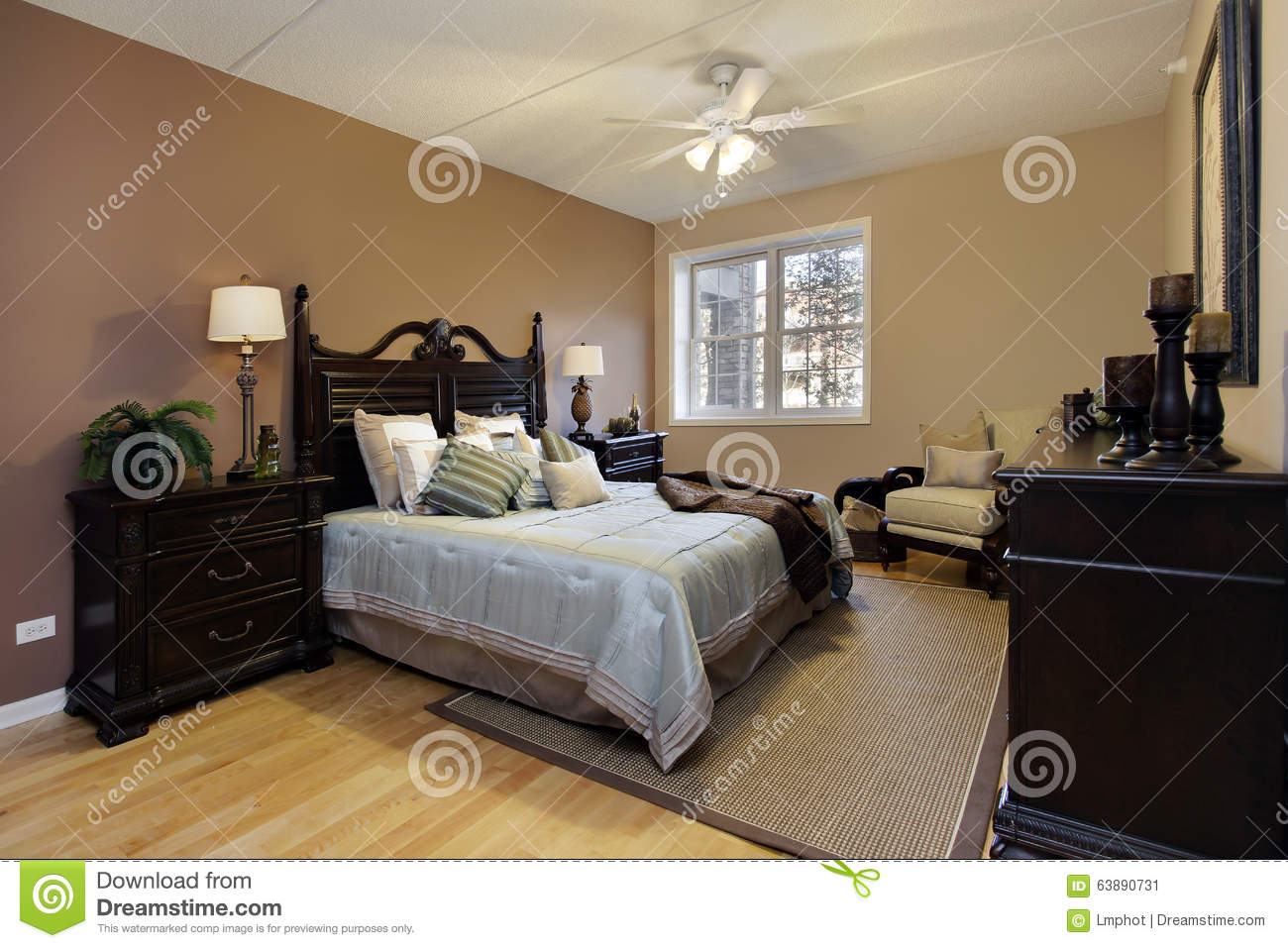 Master Bedroom With Dark Wood Furniture Stock Image Image 63890731